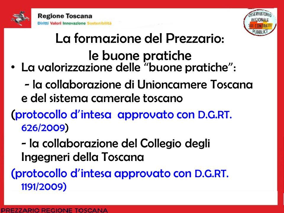 La formazione del Prezzario: le buone pratiche La valorizzazione delle buone pratiche : - la collaborazione di Unioncamere Toscana e del sistema camer