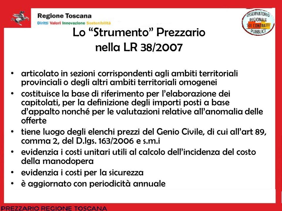 Lo Strumento Prezzario nella LR 38/2007 articolato in sezioni corrispondenti agli ambiti territoriali provinciali o degli altri ambiti territoriali om