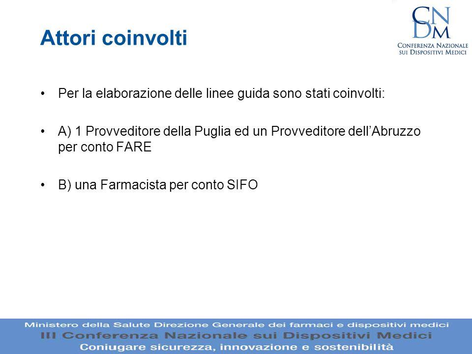 Attori coinvolti Per la elaborazione delle linee guida sono stati coinvolti: A) 1 Provveditore della Puglia ed un Provveditore dellAbruzzo per conto F