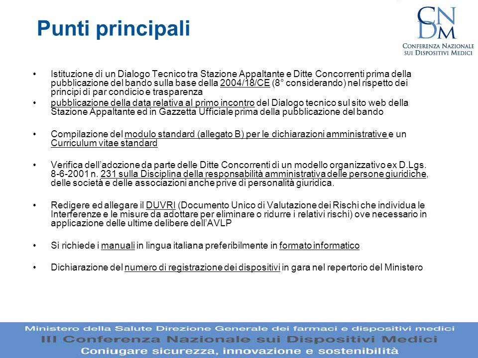 Punti principali Istituzione di un Dialogo Tecnico tra Stazione Appaltante e Ditte Concorrenti prima della pubblicazione del bando sulla base della 20