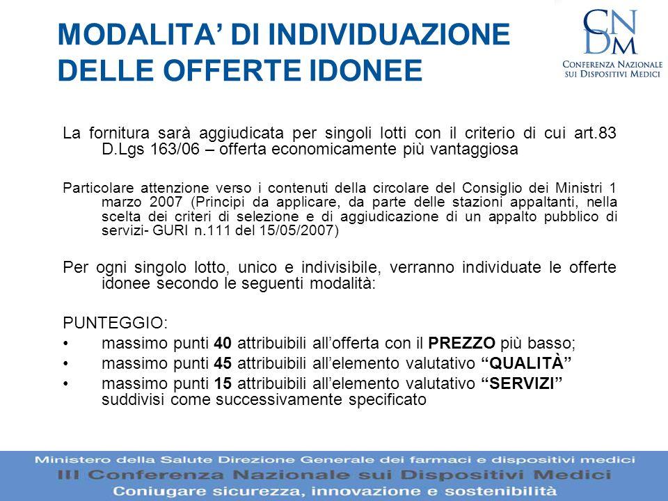 MODALITA DI INDIVIDUAZIONE DELLE OFFERTE IDONEE La fornitura sarà aggiudicata per singoli lotti con il criterio di cui art.83 D.Lgs 163/06 – offerta e