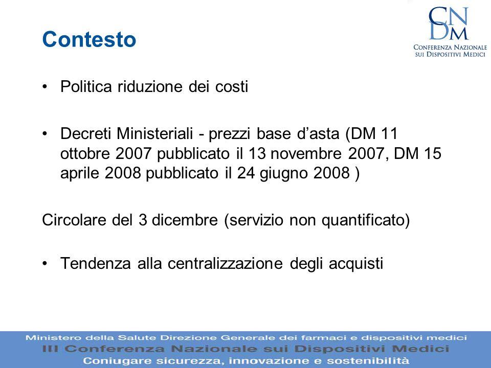 Contesto Politica riduzione dei costi Decreti Ministeriali - prezzi base dasta (DM 11 ottobre 2007 pubblicato il 13 novembre 2007, DM 15 aprile 2008 p