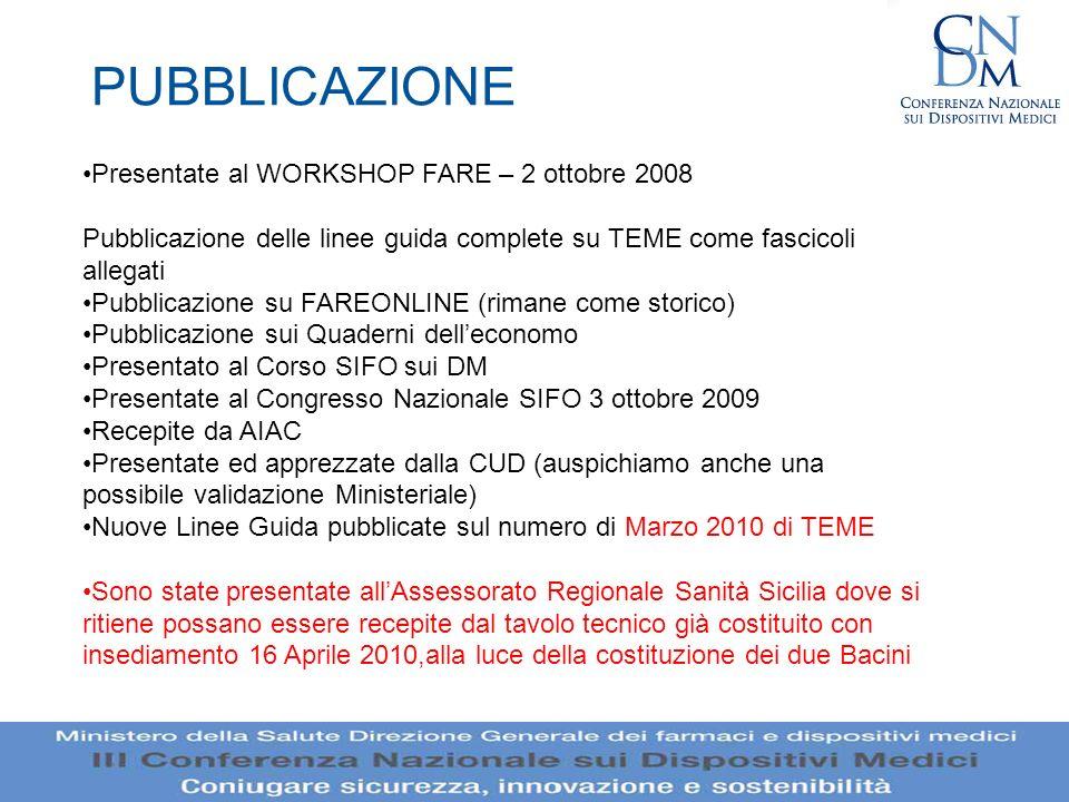 PUBBLICAZIONE Presentate al WORKSHOP FARE – 2 ottobre 2008 Pubblicazione delle linee guida complete su TEME come fascicoli allegati Pubblicazione su F