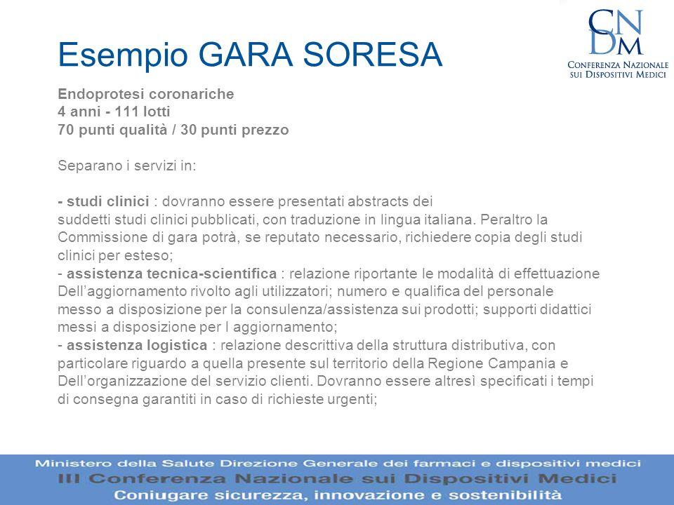 Esempio GARA SORESA Endoprotesi coronariche 4 anni - 111 lotti 70 punti qualità / 30 punti prezzo Separano i servizi in: - studi clinici : dovranno es
