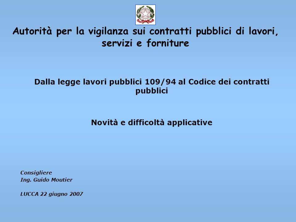Autorità per la vigilanza sui contratti pubblici di lavori, servizi e forniture Dalla legge lavori pubblici 109/94 al Codice dei contratti pubblici No