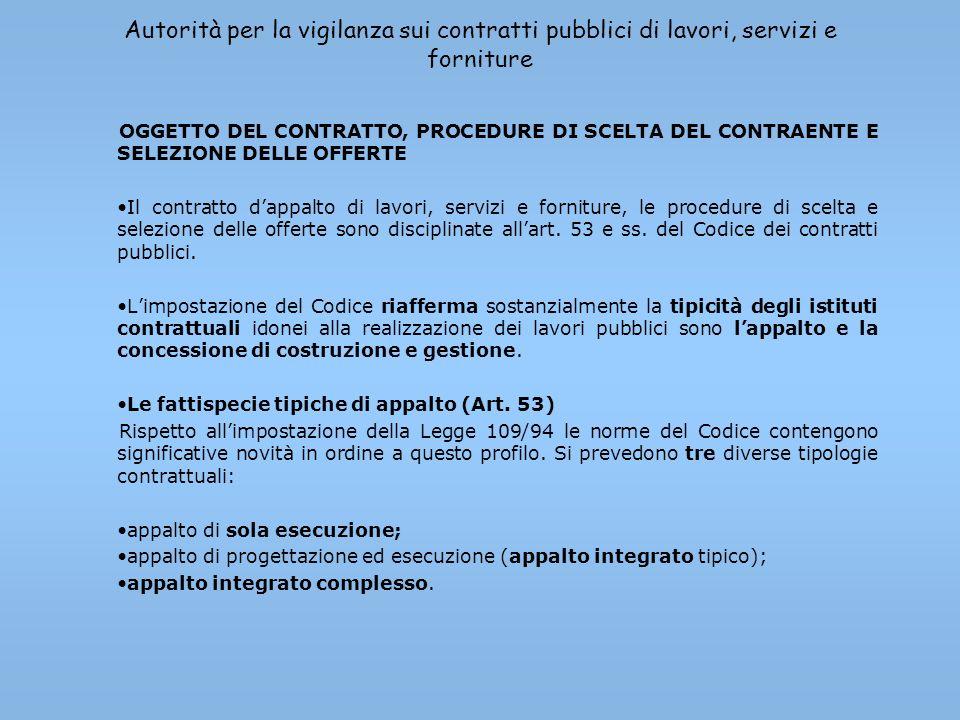 Autorità per la vigilanza sui contratti pubblici di lavori, servizi e forniture OGGETTO DEL CONTRATTO, PROCEDURE DI SCELTA DEL CONTRAENTE E SELEZIONE