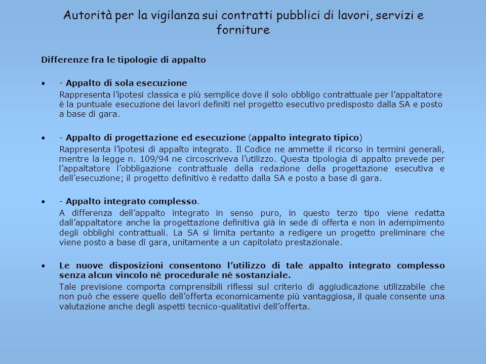 Autorità per la vigilanza sui contratti pubblici di lavori, servizi e forniture Differenze fra le tipologie di appalto - Appalto di sola esecuzione Ra