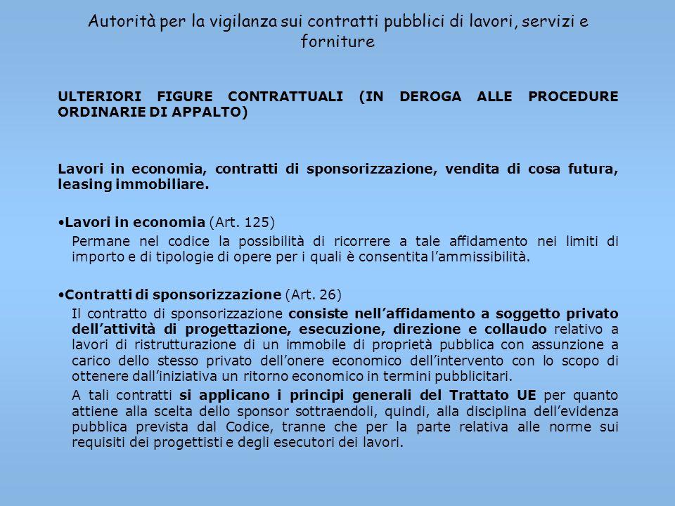 Autorità per la vigilanza sui contratti pubblici di lavori, servizi e forniture ULTERIORI FIGURE CONTRATTUALI (IN DEROGA ALLE PROCEDURE ORDINARIE DI A