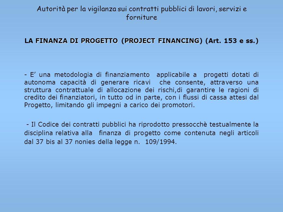 Autorità per la vigilanza sui contratti pubblici di lavori, servizi e forniture FINANZA DI PROGETTOPROJECT FINANCING LA FINANZA DI PROGETTO (PROJECT F