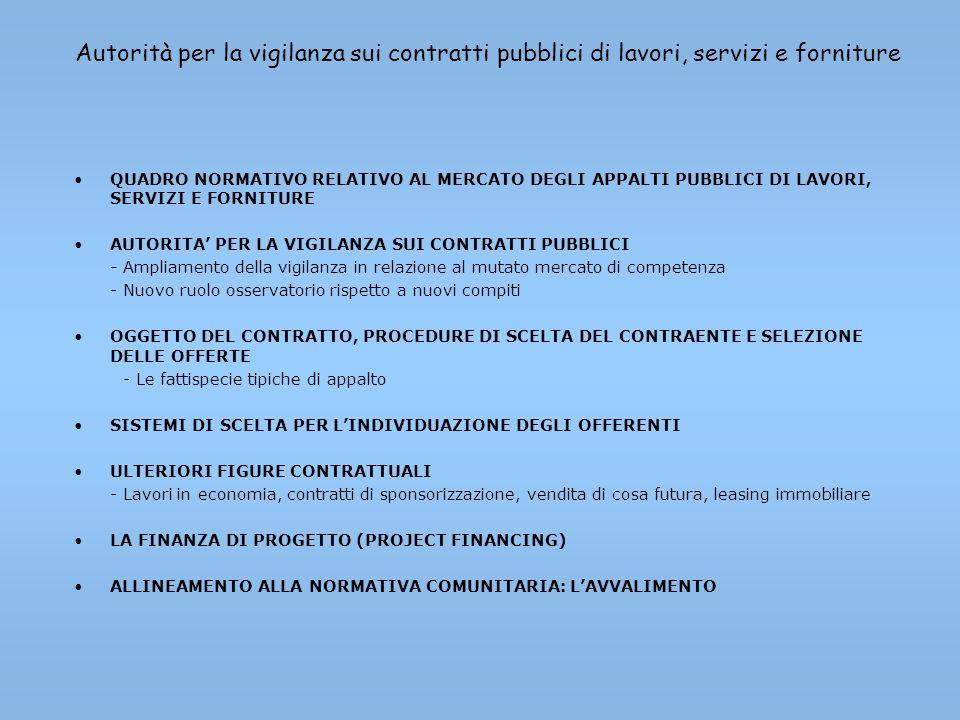 Autorità per la vigilanza sui contratti pubblici di lavori, servizi e forniture QUADRO NORMATIVO RELATIVO AL MERCATO DEGLI APPALTI PUBBLICI DI LAVORI,