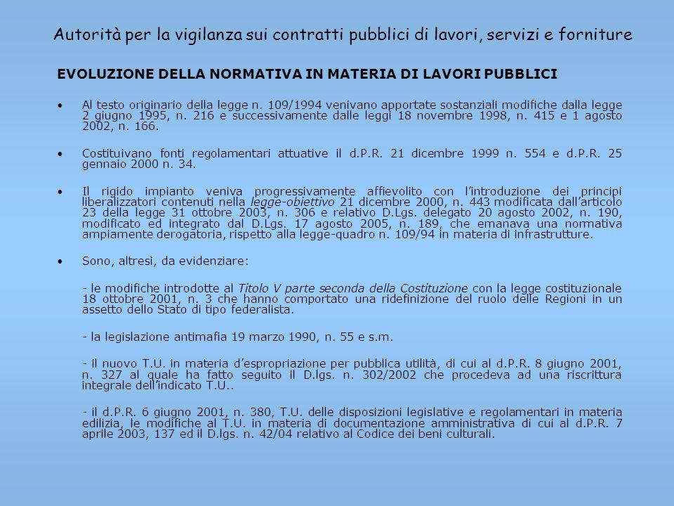 Autorità per la vigilanza sui contratti pubblici di lavori, servizi e forniture EVOLUZIONE DELLA NORMATIVA IN MATERIA DI LAVORI PUBBLICI Al testo orig
