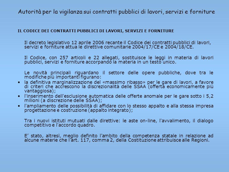 Autorità per la vigilanza sui contratti pubblici di lavori, servizi e forniture IL CODICE DEI CONTRATTI PUBBLICI DI LAVORI, SERVIZI E FORNITURE Il dec