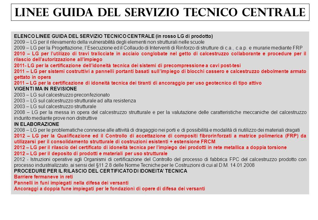 LINEE GUIDA DEL SERVIZIO TECNICO CENTRALE ELENCO LINEE GUIDA DEL SERVIZIO TECNICO CENTRALE (in rosso LG di prodotto) 2009 – LG per il rilevamento dell