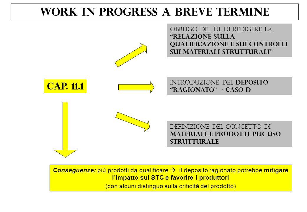 Work In Progress a Breve Termine Cap. 11.1 Obbligo del DL di redigere laRelazione sulla qualificazione e sui controlli sui materiali strutturali Intro