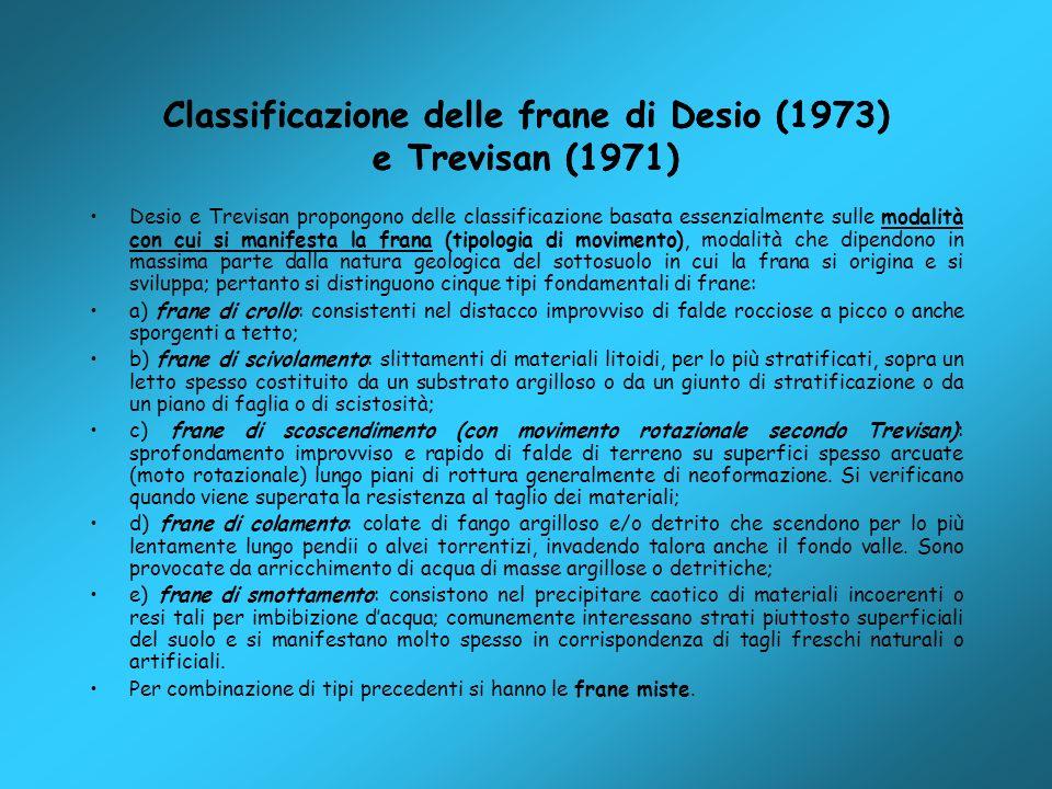 Classificazione delle frane di Desio (1973) e Trevisan (1971) Desio e Trevisan propongono delle classificazione basata essenzialmente sulle modalità c