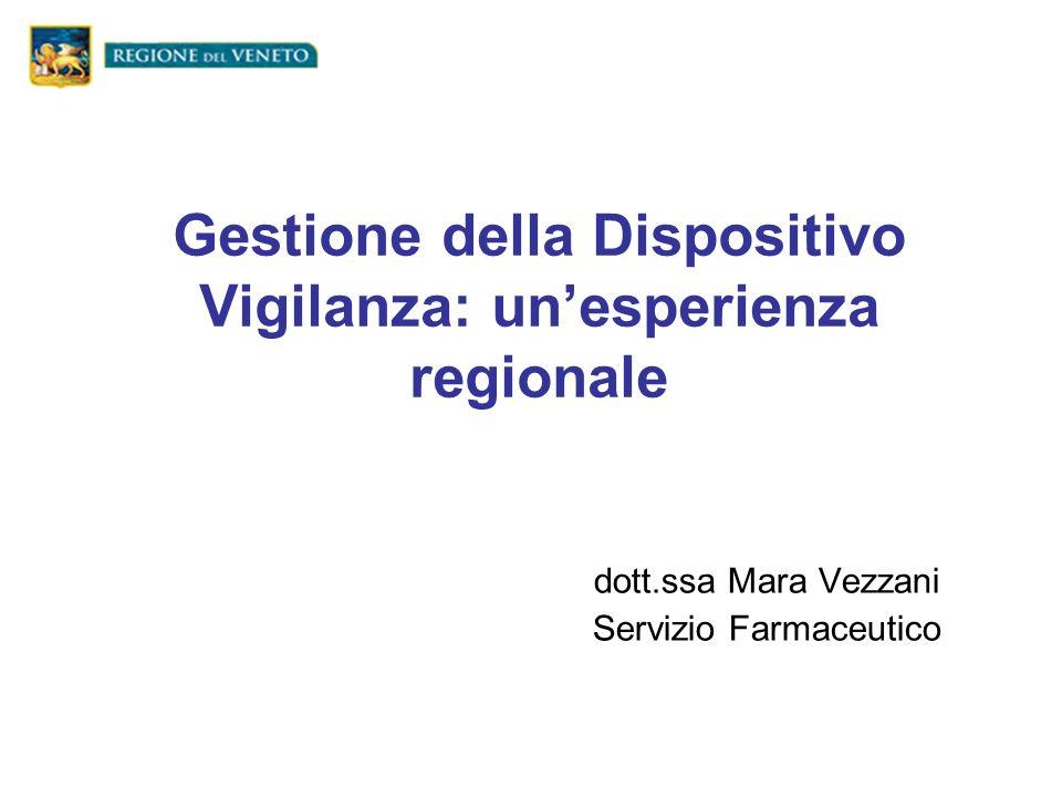 Gestione della Dispositivo Vigilanza: unesperienza regionale dott.ssa Mara Vezzani Servizio Farmaceutico