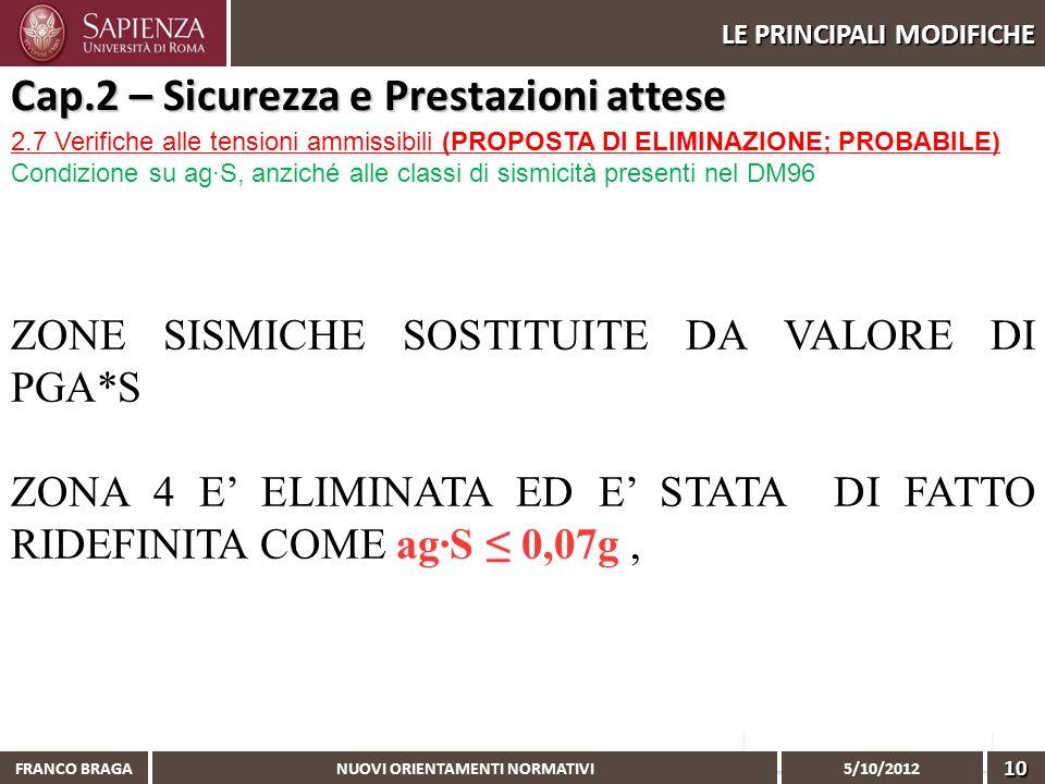 NUOVI ORIENTAMENTI NORMATIVI 5/10/2012 FRANCO BRAGA10 LE PRINCIPALI MODIFICHE 2.7 Verifiche alle tensioni ammissibili (PROPOSTA DI ELIMINAZIONE; PROBA