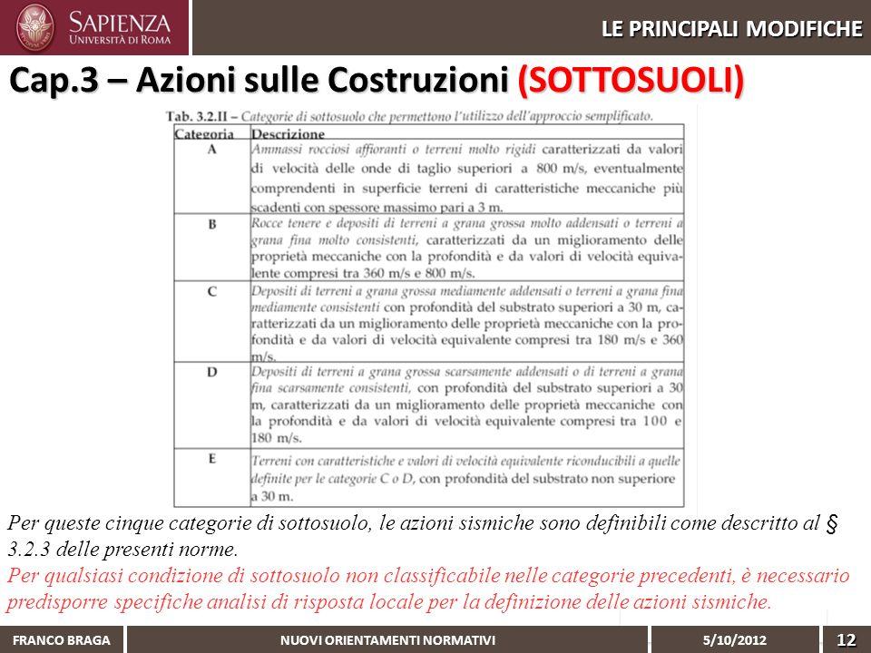 NUOVI ORIENTAMENTI NORMATIVI 5/10/2012 FRANCO BRAGA12 LE PRINCIPALI MODIFICHE Cap.3 – Azioni sulle Costruzioni (SOTTOSUOLI) Per queste cinque categori