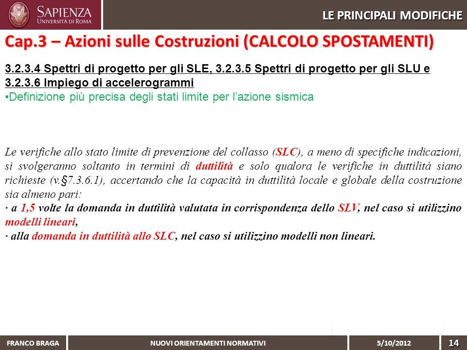 NUOVI ORIENTAMENTI NORMATIVI 5/10/2012 FRANCO BRAGA14 LE PRINCIPALI MODIFICHE 3.2.3.4 Spettri di progetto per gli SLE, 3.2.3.5 Spettri di progetto per