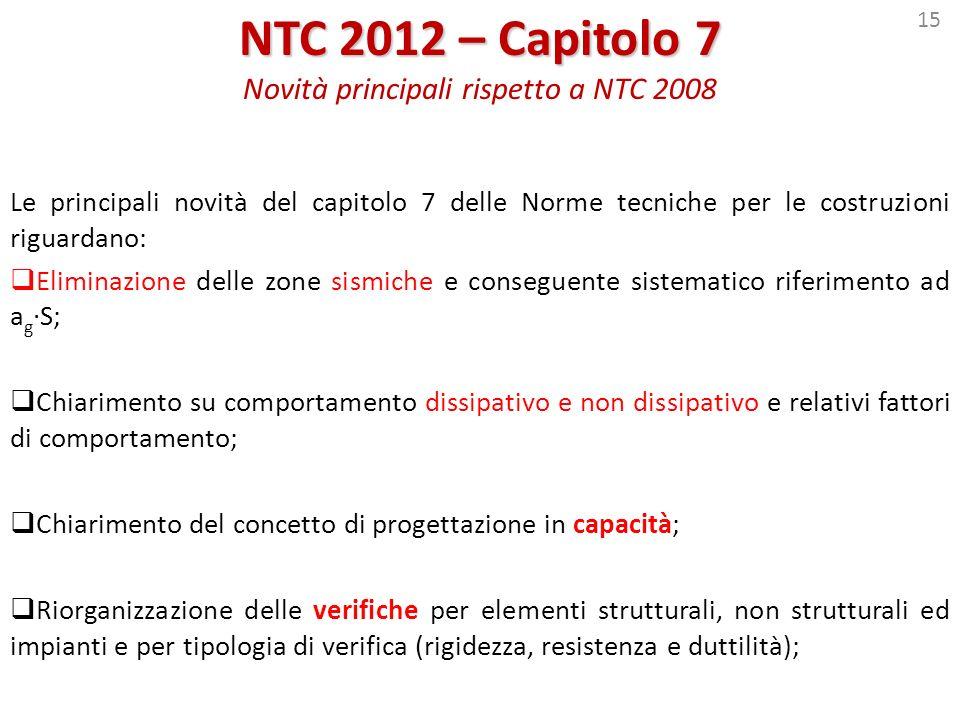 15 NTC 2012 – Capitolo 7 NTC 2012 – Capitolo 7 Novità principali rispetto a NTC 2008 Le principali novità del capitolo 7 delle Norme tecniche per le c