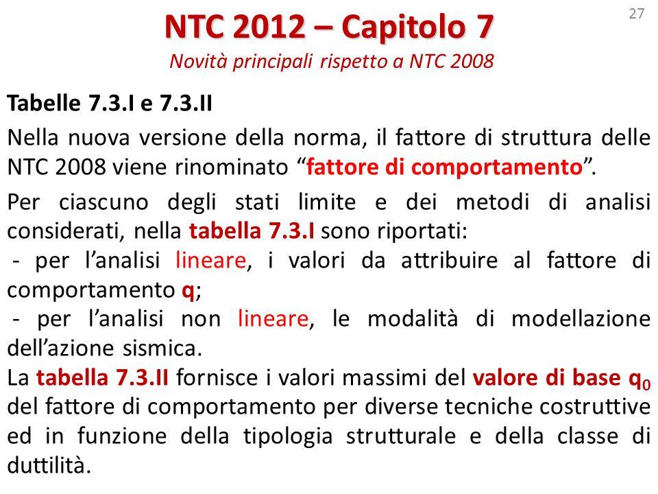 27 NTC 2012 – Capitolo 7 NTC 2012 – Capitolo 7 Novità principali rispetto a NTC 2008 Tabelle 7.3.I e 7.3.II Nella nuova versione della norma, il fatto