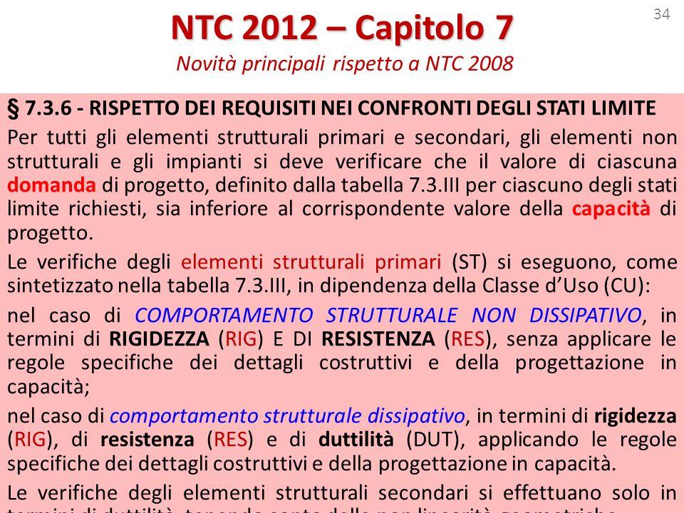 34 NTC 2012 – Capitolo 7 NTC 2012 – Capitolo 7 Novità principali rispetto a NTC 2008 § 7.3.6 - RISPETTO DEI REQUISITI NEI CONFRONTI DEGLI STATI LIMITE