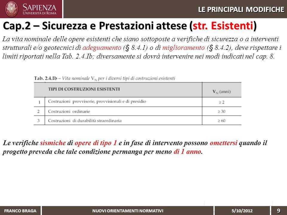 NUOVI ORIENTAMENTI NORMATIVI 5/10/2012 FRANCO BRAGA9 LE PRINCIPALI MODIFICHE Cap.2 – Sicurezza e Prestazioni attese (str. Esistenti) La vita nominale