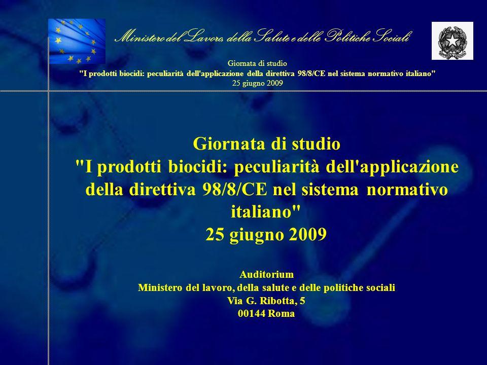 Il sistema attuale e il processo di transizione per i presidi medico- chirurgici e i prodotti di libera vendita Il sistema attuale e il processo di transizione per i presidi medico- chirurgici e i prodotti di libera vendita dr.ssa Raffaella Perrone Ministero del Lavoro, della Salute e delle Politiche Sociali Giornata di studio I prodotti biocidi: peculiarità dell applicazione della direttiva 98/8/CE nel sistema normativo italiano 25 giugno 2009