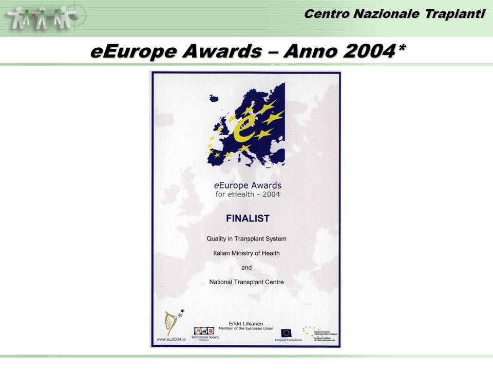 Centro Nazionale Trapianti eEurope Awards – Anno 2004*