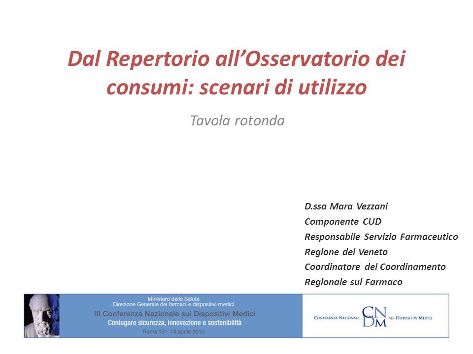 Dal Repertorio allOsservatorio dei consumi: scenari di utilizzo Tavola rotonda D.ssa Mara Vezzani Componente CUD Responsabile Servizio Farmaceutico Re