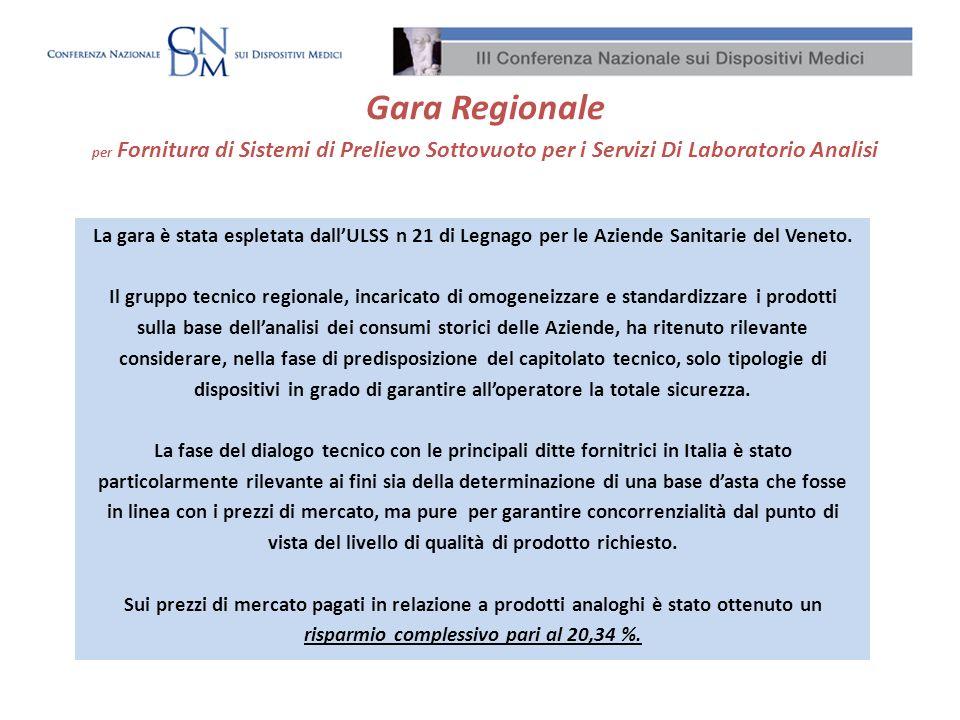 La gara è stata espletata dallULSS n 21 di Legnago per le Aziende Sanitarie del Veneto. Il gruppo tecnico regionale, incaricato di omogeneizzare e sta