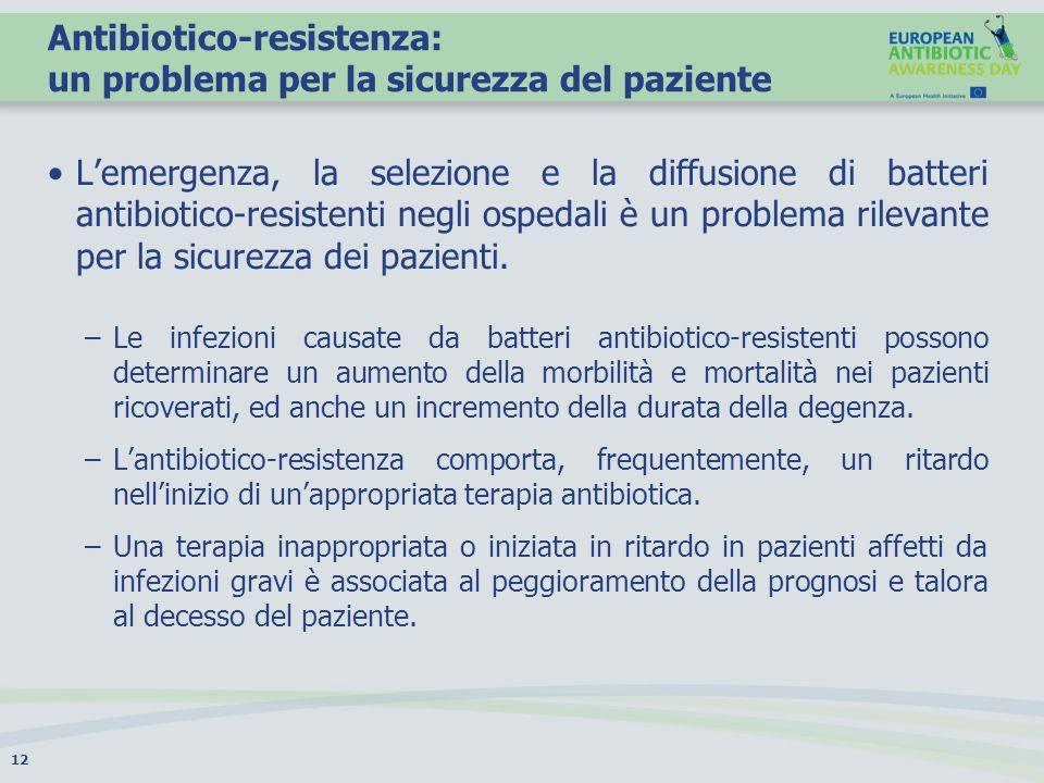 Antibiotico-resistenza: un problema per la sicurezza del paziente Lemergenza, la selezione e la diffusione di batteri antibiotico-resistenti negli osp