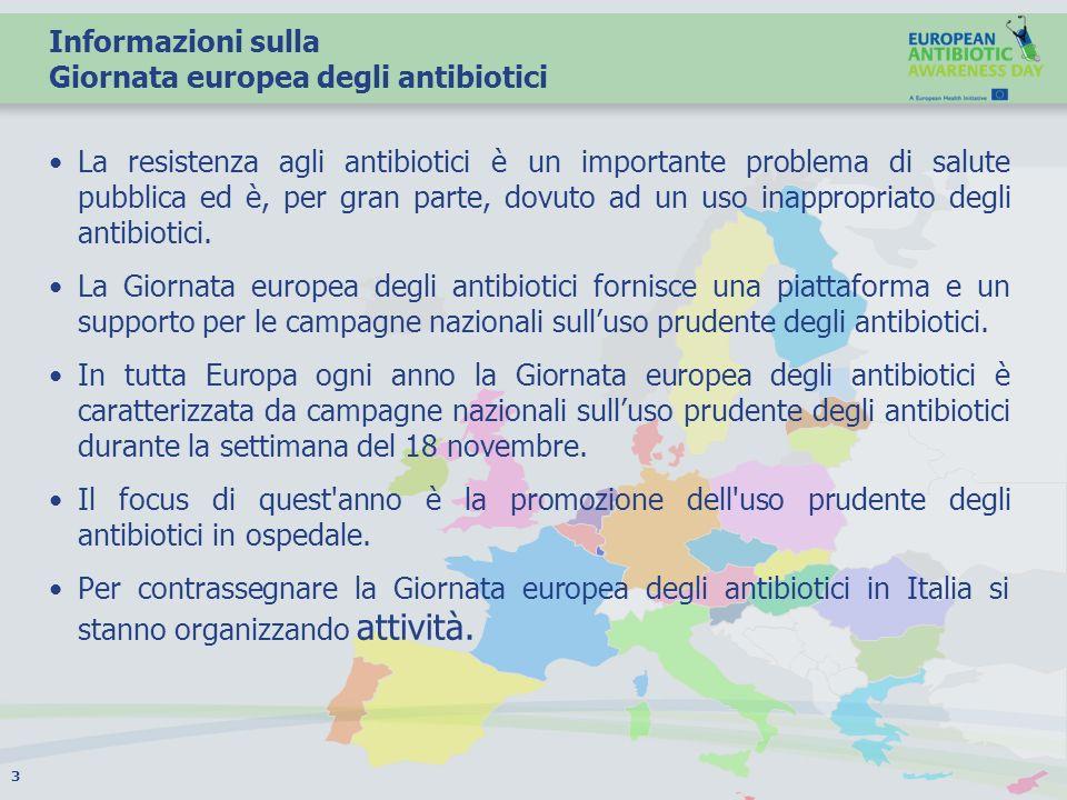 Informazioni sulla Giornata europea degli antibiotici La resistenza agli antibiotici è un importante problema di salute pubblica ed è, per gran parte,