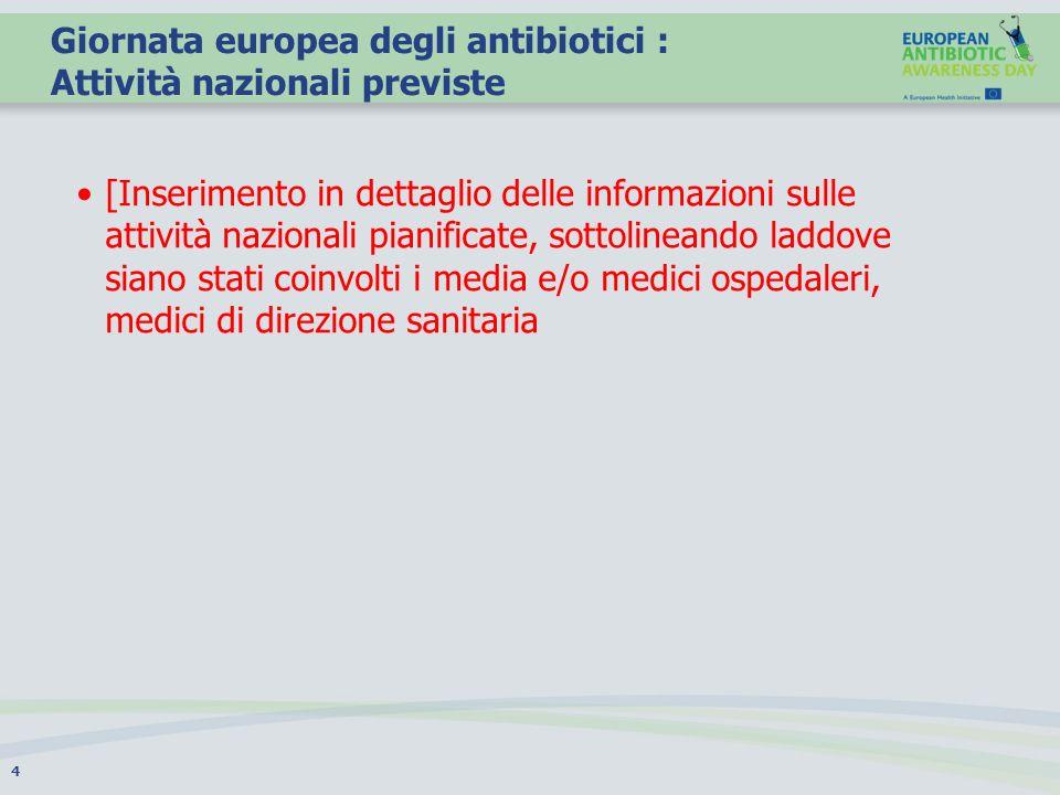 Giornata europea degli antibiotici : Attività nazionali previste [Inserimento in dettaglio delle informazioni sulle attività nazionali pianificate, so