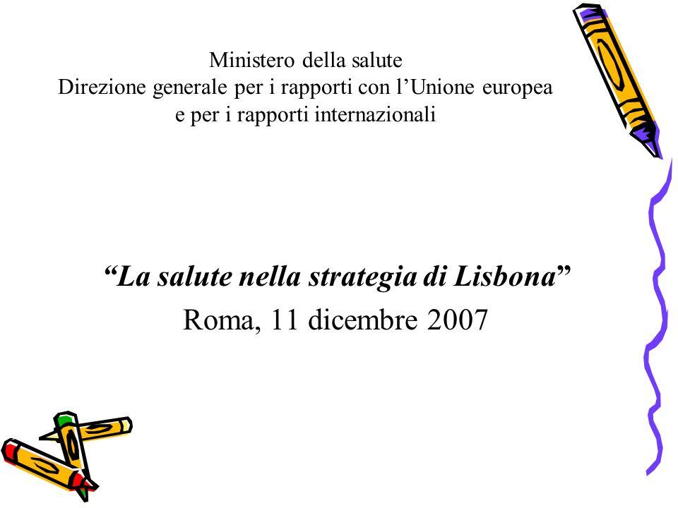 Ministero della salute Direzione generale per i rapporti con lUnione europea e per i rapporti internazionali La salute nella strategia di Lisbona Roma, 11 dicembre 2007