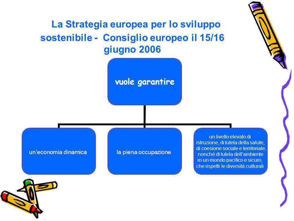 La Strategia europea per lo sviluppo sostenibile - Consiglio europeo il 15/16 giugno 2006 vuole garantire uneconomia dinamicala piena occupazione un livello elevato di istruzione, di tutela della salute, di coesione sociale e territoriale, nonché di tutela dellambiente in un mondo pacifico e sicuro, che rispetti le diversità culturali