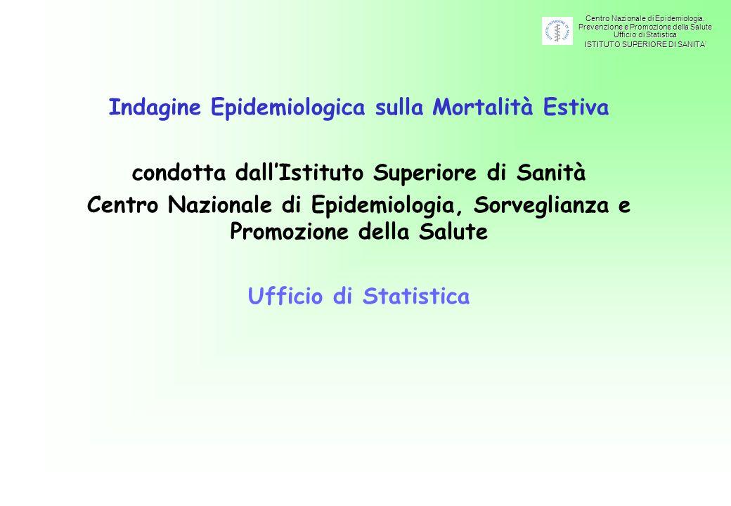 Centro Nazionale di Epidemiologia, Prevenzione e Promozione della Salute Ufficio di Statistica ISTITUTO SUPERIORE DI SANITA