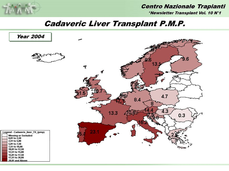 Centro Nazionale Trapianti Cadaveric Liver Transplant P.M.P. Year 2004 *Newsletter Transplant Vol. 10 N°1