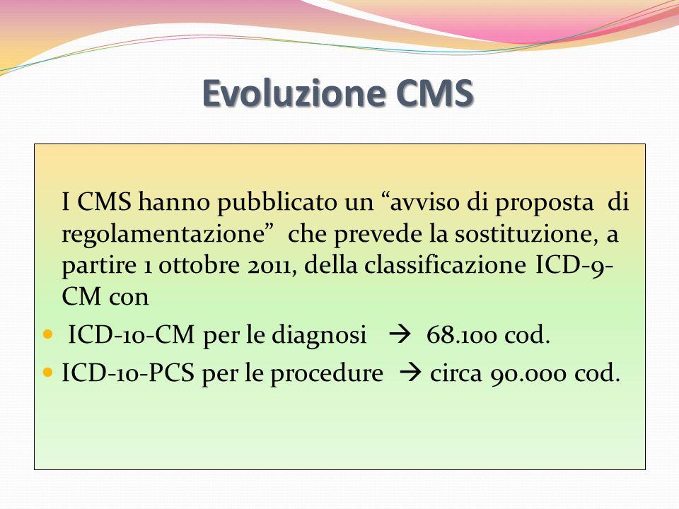 Evoluzione CMS I CMS hanno pubblicato un avviso di proposta di regolamentazione che prevede la sostituzione, a partire 1 ottobre 2011, della classific