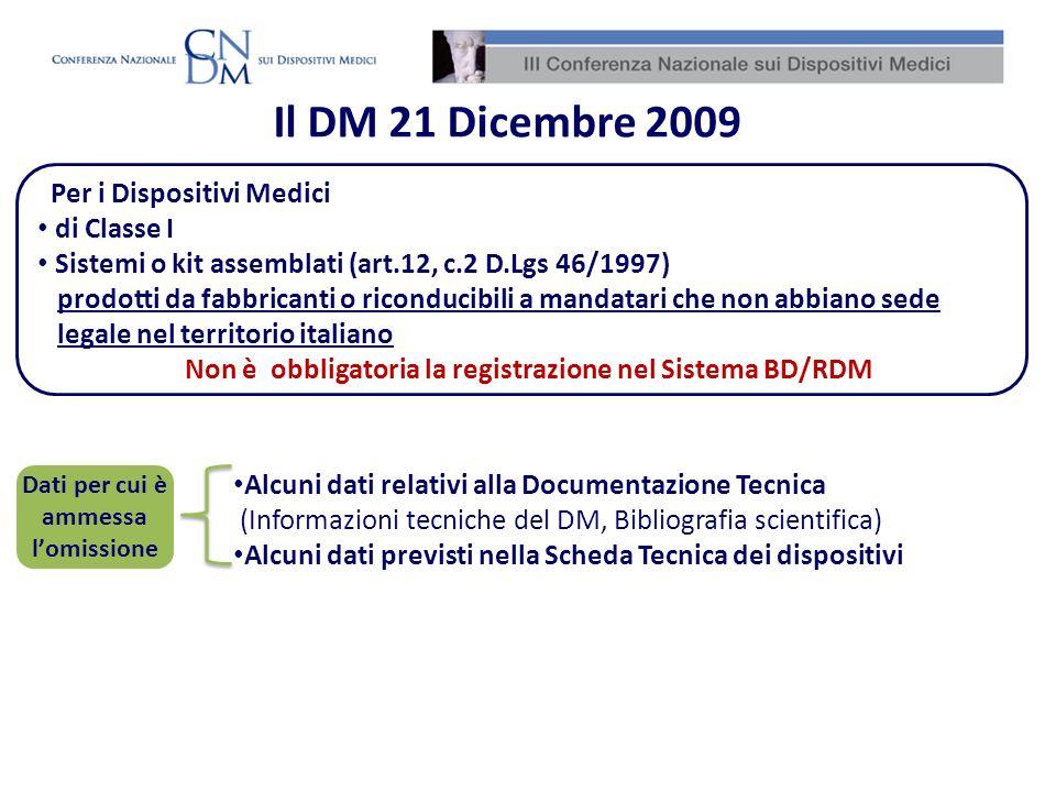 Per i Dispositivi Medici di Classe I Sistemi o kit assemblati (art.12, c.2 D.Lgs 46/1997) prodotti da fabbricanti o riconducibili a mandatari che non