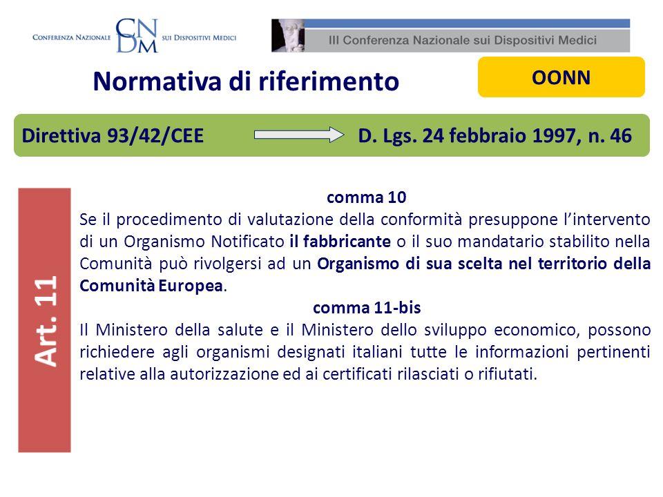 Normativa di riferimento comma 10 Se il procedimento di valutazione della conformità presuppone lintervento di un Organismo Notificato il fabbricante