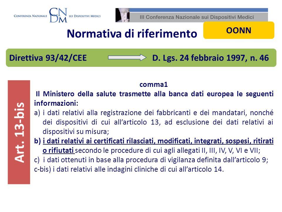 Normativa di riferimento comma1 Il Ministero della salute trasmette alla banca dati europea le seguenti informazioni: a) i dati relativi alla registra