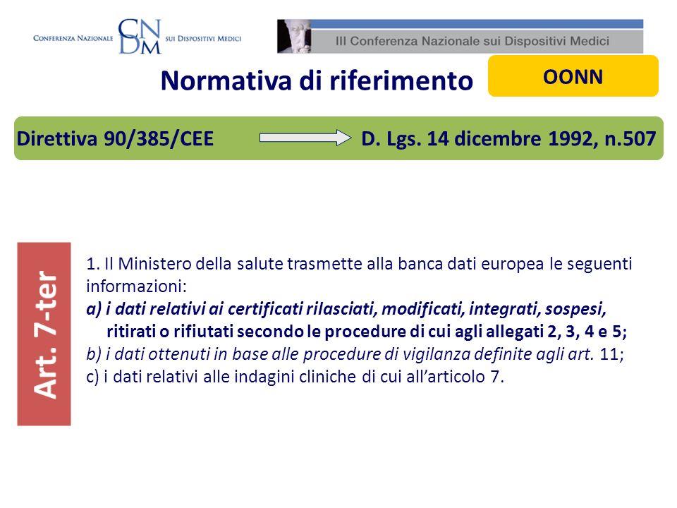 Normativa di riferimento 1. Il Ministero della salute trasmette alla banca dati europea le seguenti informazioni: a) i dati relativi ai certificati ri