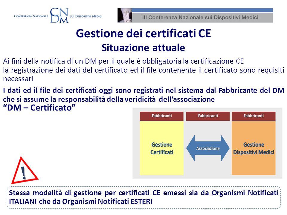 I dati ed il file dei certificati oggi sono registrati nel sistema dal Fabbricante del DM che si assume la responsabilità della veridicità dellassocia