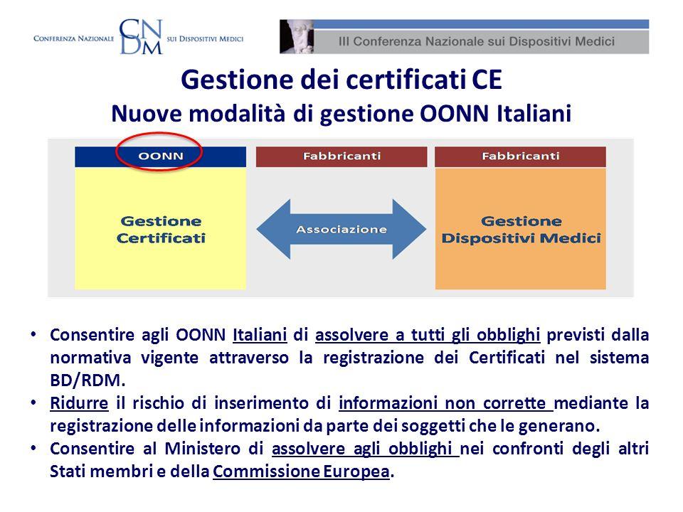 Consentire agli OONN Italiani di assolvere a tutti gli obblighi previsti dalla normativa vigente attraverso la registrazione dei Certificati nel siste