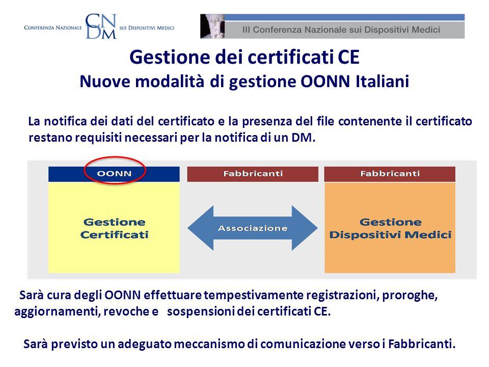 Sarà cura degli OONN effettuare tempestivamente registrazioni, proroghe, aggiornamenti, revoche e sospensioni dei certificati CE. Sarà previsto un ade
