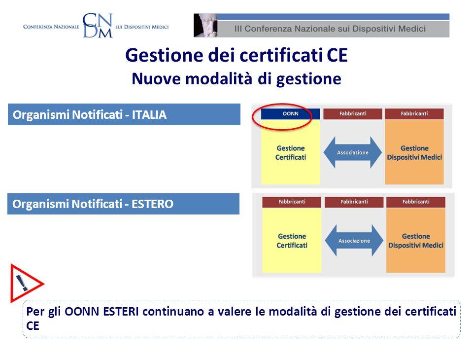 Per gli OONN ESTERI continuano a valere le modalità di gestione dei certificati CE Organismi Notificati - ITALIA Organismi Notificati - ESTERO Gestion