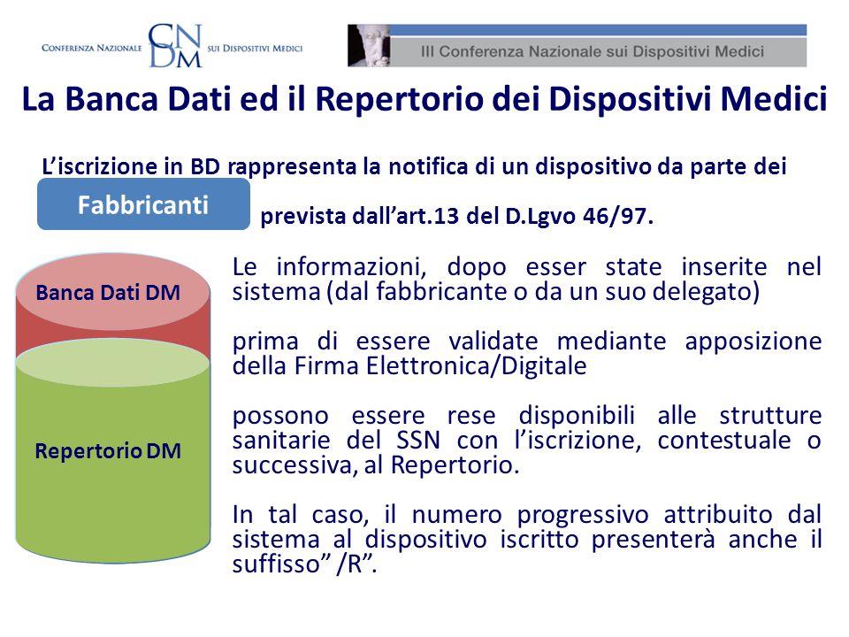 La Banca Dati ed il Repertorio dei Dispositivi Medici Banca Dati DM Repertorio DM Fabbricanti Le informazioni, dopo esser state inserite nel sistema (