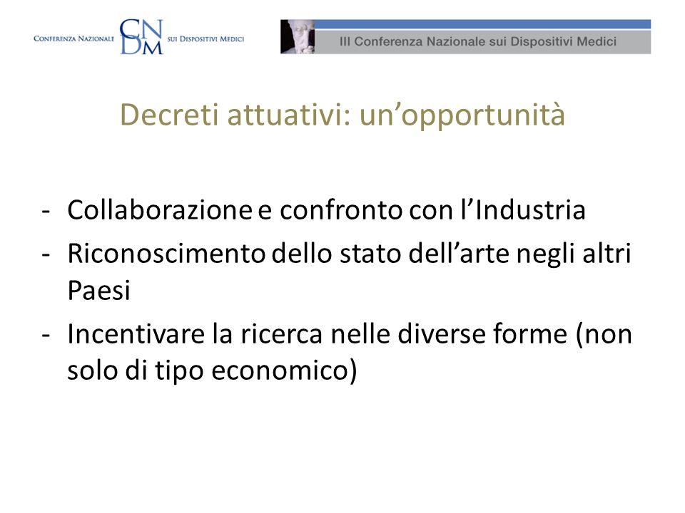 Decreti attuativi: unopportunità -Collaborazione e confronto con lIndustria -Riconoscimento dello stato dellarte negli altri Paesi -Incentivare la ricerca nelle diverse forme (non solo di tipo economico)