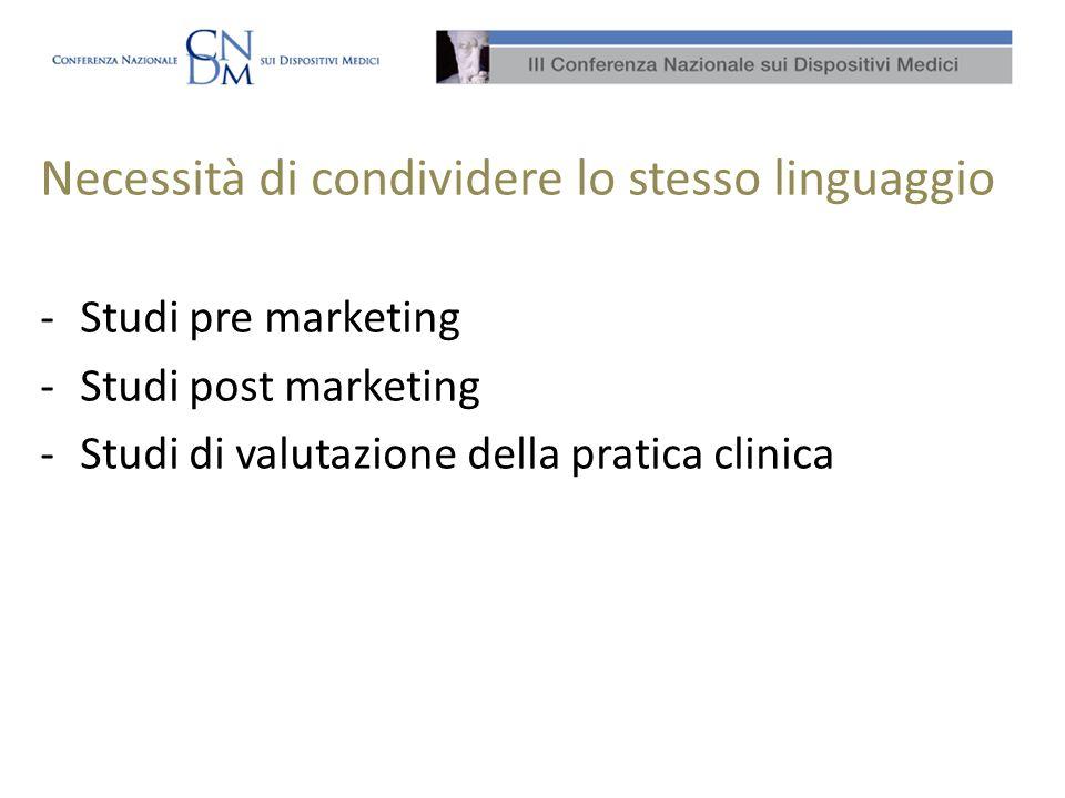 Necessità di condividere lo stesso linguaggio -Studi pre marketing -Studi post marketing -Studi di valutazione della pratica clinica
